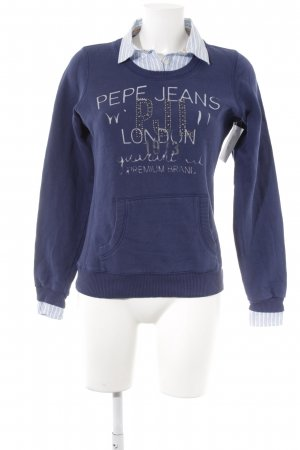 Pepe Jeans Lange jumper donkerblauw-azuur casual uitstraling