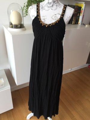 Pepe Jeans Maxikleid Kleid schwarz Gold Perlen Pailletten