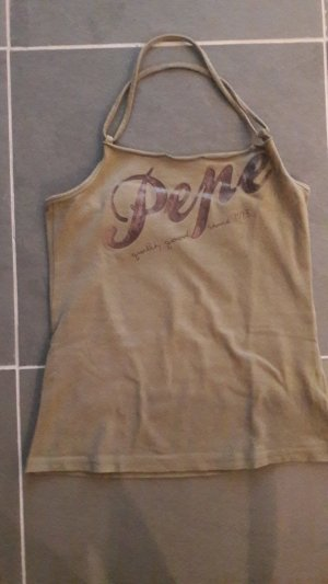 Pepe Jeans London Halter Top khaki cotton