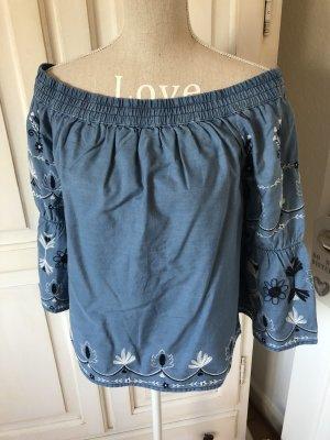 Pepe Jeans Off Shoulder  jeans Bluse mit Stickereien neu mit Etikett 86€