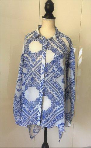 Pepe Jeans Oversized/Transparenz-Bluse weiß-blau. Neuwertig.