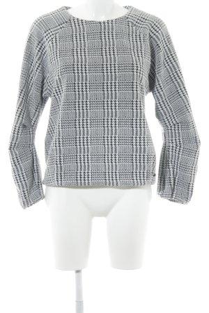 Pepe Jeans Rundhalspullover schwarz-weiß Glencheckmuster 60ies-Stil