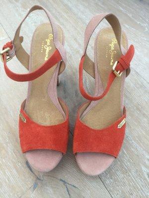 PEPE Jeans Sandalen Sandalette Orange / Rosa Wildleder Gr. 40 *NEU*