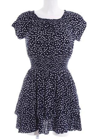 Pepe Jeans schulterfreies Kleid dunkelblau-weiß Punktemuster Romantik-Look