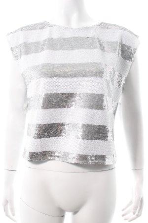 Pepe Jeans Shirt silberfarben-weiß Ringelmuster Glanz-Optik