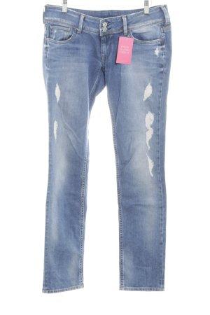 Pepe Jeans Slim Jeans neonblau Used-Optik