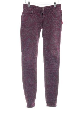 Pepe Jeans Slim Jeans bordeauxrot-grau florales Muster Romantik-Look