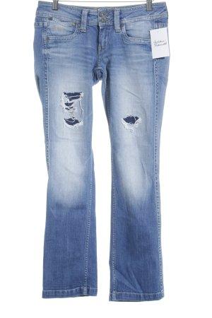 Pepe Jeans Straight-Leg Jeans blau-dunkelblau Destroy-Optik
