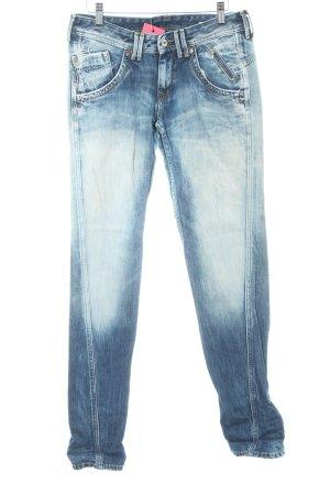 Pepe Jeans Jeans coupe-droite bleu foncé-bleu pâle style déchiré