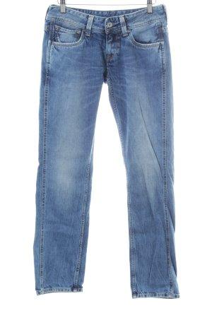Pepe Jeans Straight-Leg Jeans stahlblau-weiß College-Look