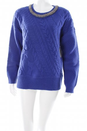 Pepe Jeans Strickpullover blau Zopfmuster Logo-Applikation aus Metall