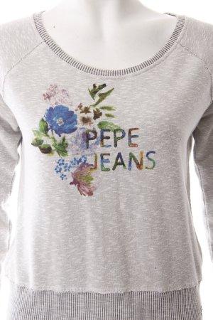 Pepe Jeans Strickpullover grau Schriftzug gedruckt Casual-Look