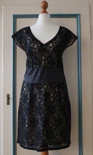 Pepe Jeans | Stylisches Cocktail Kleid mit Spitze * Schwarz & Creme * Gr. S / M
