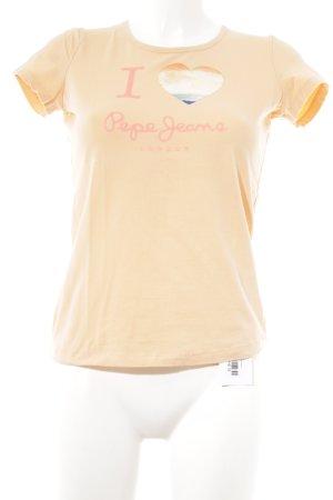 Pepe Jeans Camiseta albaricoque-naranja neón estampado temático look casual