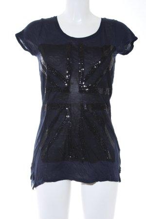 Pepe Jeans Camiseta azul oscuro-negro estampado en partes look casual
