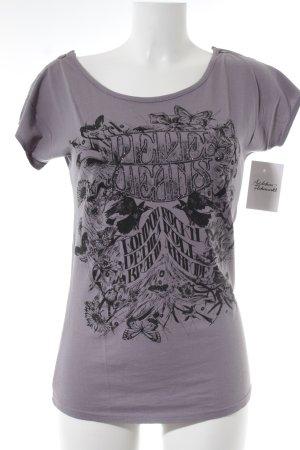 Pepe Jeans T-Shirt graulila-schwarz Motivdruck Casual-Look