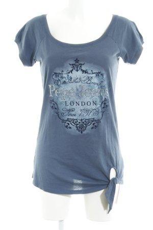 Pepe Jeans T-Shirt stahlblau Motivdruck Casual-Look