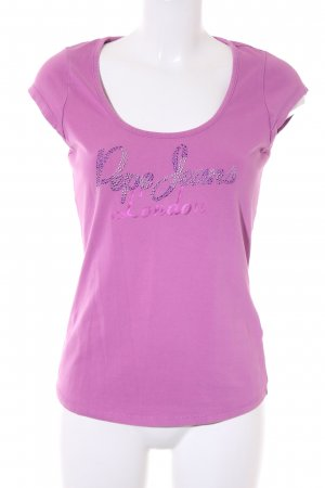 Pepe Jeans Camiseta violeta letras impresas look casual