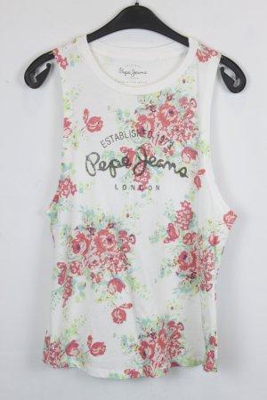 Pepe Jeans Top Gr. S weiß Blumen Print floral gemustert (18/3/306)