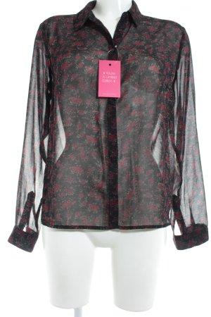 Pepe Jeans Transparenz-Bluse schwarz-bordeauxrot Blumenmuster Casual-Look