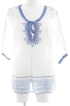 Pepe Jeans Tunikabluse stahlblau-weiß abstraktes Muster Beach-Look