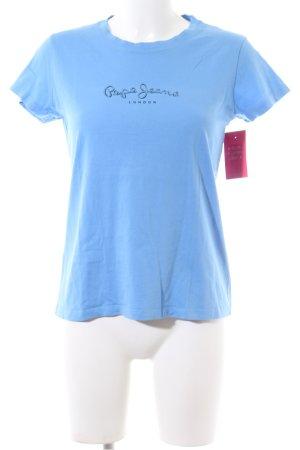 Pepe Jeans Maglia scollo a barca blu caratteri stampati stile casual