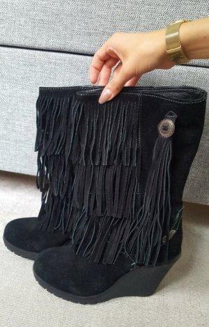 Pepe Jeans Wildlederstiefel / Boots mit Franzen, Keilabsatz in schwarz