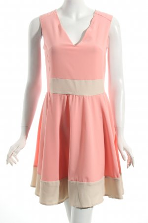 Pepe Runa A-Linien Kleid rosa-creme Colourblocking Eleganz-Look