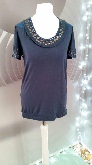 Pepe Shirt graublau Seventy three Zierpailetten/Federn Silber M
