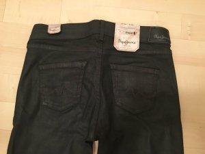 Pepe Skinny Jeans Pixie 26/32 schwarz glänzend Röhre Stretch Top mit Etikett