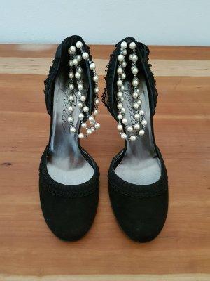 Pepita Pumps mit Perlen und Schleife