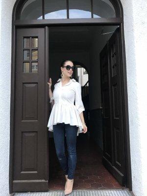 Peplum Bluse Hemd Gr. 36 S weiß Schösschen elegant Damen Shirt Tunika blogger