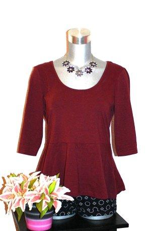 Peplum Blusen Shirt Gr. 40 Weinrot Blogger