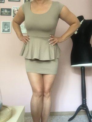 Peplum Kleid mini beige nude