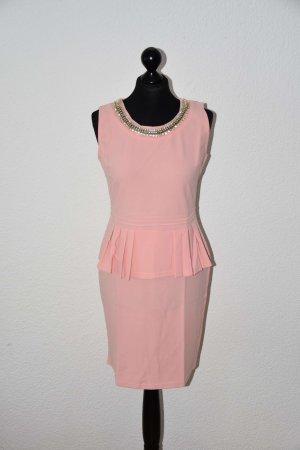 Vestido peplum rosa Poliéster