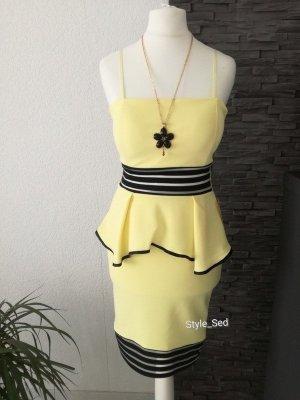 Peplum Minikleid Schößchen transparente Einsätze Kleid Tüll Mesh