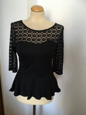 Made in Italy Peplum Top black