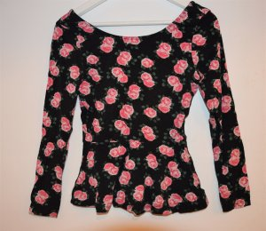 Peplum Shirt - Langarm - Rosen