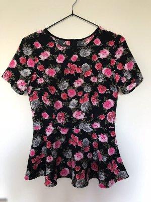 Peplum Shirt mit süßem Blumenmuster
