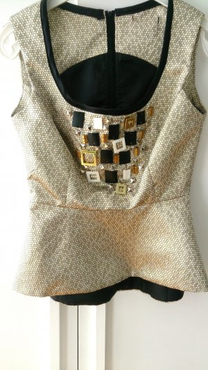 Peplum Top Gr. 34 Brokat Gold mit Perlen