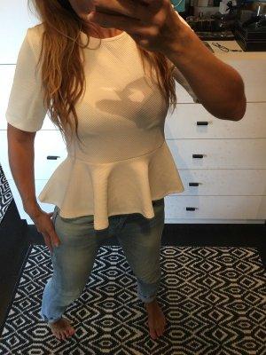 Peplum Top Schösschen Bluse Shirt Waffelpique weiß Creme neu
