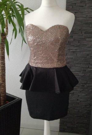Peplum Dress black-gold-colored
