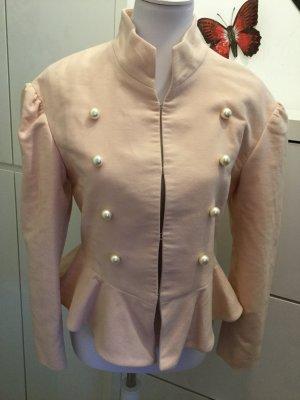 Zara Veste rosé-blanc cassé coton