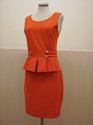 Peplumkleid orange retro Kleid kurz Gr. M 38 Schößchenkleid Schößchen neu