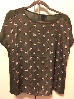 Peppiges T-Shirt mit Fuchsprint im Materialmix, khakigrün, s.Oliver, Gr. 36