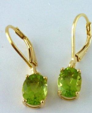Peridot Ohrringe Gold echter Edelstein NEU 925 Silber vergoldet