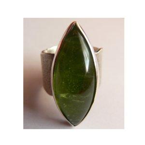 Peridot Ring Silber Unikat Handarbeit 18mm Echtschmuck