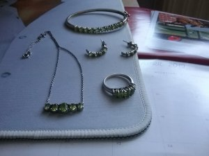 Statement Necklace silver-colored-green