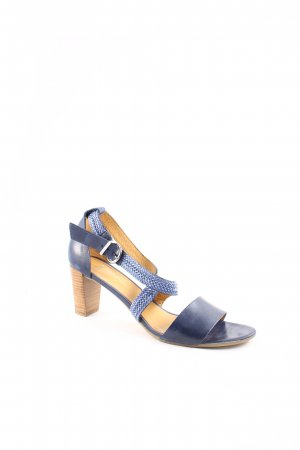 Perlato Strapped High-Heeled Sandals dark blue beach look