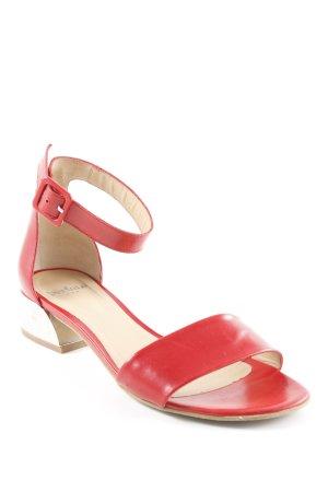 Perlato Riemchen-Sandaletten silberfarben-rot Casual-Look